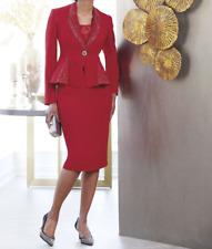 Ashro Red Black Formal Dress Wedding Church Skirt Suit 8 10 12 14 16 16W 18W 26W