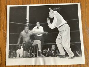 Original 1955 Archie Moore Down Vs Rocky Marciano Type 1 Boxing Photo  Mint