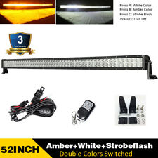 52inch Straight Amber/White/Strobe Led Light Bar Offroad Driving & Remote Wiring