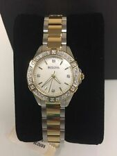 Bulova Womens  Diamond Gold Stainless Steel  Mother-of-Pearl Watch 98R236