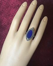 Authentic Art Deco Blue Chalcedony Ring Marcasites Sterling Silver 38mm Size 6.5