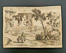 Santino incisione su pergamena con attaccata immagine su carta Sant' Antonio