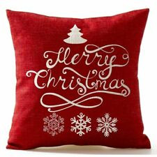 Snowflake Christmas In Red flax Throw Pillow Case Cushion Cover Square B4V8