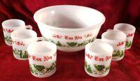 7 Piece Vintage Hazel Atlas Milk Glass Egg Nog Set; (1) Bowl (6) Mugs 8 oz.