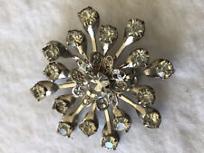 rhinestones (nice sparkle) lace pedals Vintage Silver Tone Brooch/Pin With