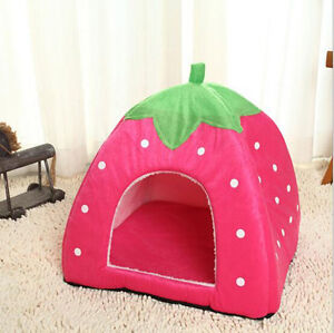 Fashion Soft Strawberry Pet Dog Cat Bed House Kennel Doggy Cushion Basket Nest