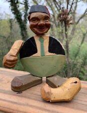 Vintage Antique Hand Carved Wooden Hobo Man ANRI Beer Bottle Opener Folk Art