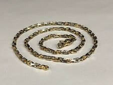 """10k Solid Two Tone Gold Handmade Link Men's chain/Necklace 24"""" 43 grams 4.5MM"""