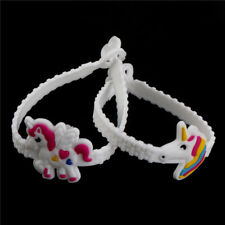 10pcs  unicorn rubber bangle bracelet birthday party for kids wristband decor HQ
