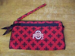 Vera Bradley Ohio State University Red Gray Black OSU Front Zip Wristlet Wallet