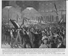 1893 FINE ART Antique Print - ITALY ROME Piazza Colonna Riots Against French (38