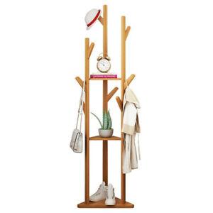 Modern Nature Bamboo Coat Clothes Handbag Tree Rack Branch Hanger+10 Thick Hooks