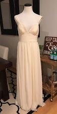 Lulus Ivory Cream Chiffon Maxi Dress Wedding Bridal Long Gown Large Bridesmaid