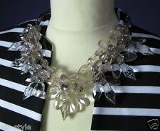 XL Statement Halskette Collier Bib Crystal Kristalloptik Blume Strass Perle Neu