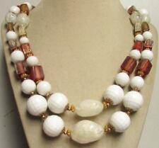 """Vintage 50's Chunky Long 24"""" White Amber Plastic Bead Necklace 2 Strand"""