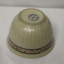 Red Wing Grey line Sponge band Stoneware Bowl advertising Hobel Bros. Leigh, Neb