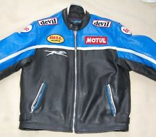Black Blue & white Maakson Motorcucle bike jacket XL  biker