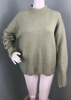 NWT Womens Magaschoni Pistachio Green Wool Blend Mock Neck Sweater Sz Large