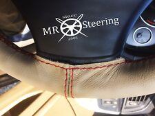 Fits Jaguar Daimler MK2 59+ Beige Volant en cuir couverture rouge double stitch