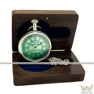 Nautical Marine Handmade Brass Pocket Watch Chain Pendant Clock With Wooden Box