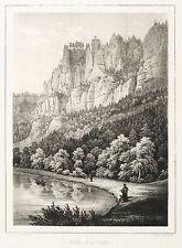 SÄCHSISCHE SCHWEIZ - BASTEI - Robert Bürger - Kreidelithografie 1845