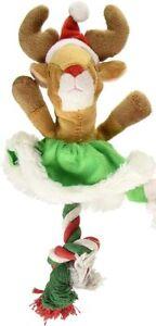 "SPOT ETHICAL CHRISTMAS HOLIDAY TREE SKIRT ROPE DOG 9"" TOY REINDEER. USA"