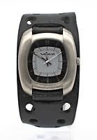 """VESTAL """"SUPER FI"""" WHAT INSPIRES YOU? SPF001 BLACK LEATHER CUFF BAND MEN'S WATCH"""