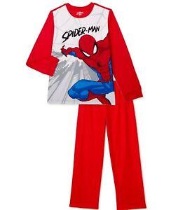 Boys Marvel Spider-Man Flannel Pajama 2-piece Set Sleepwear PJ's Red Size 4/5