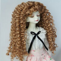 1/4 BJD Doll Long Curly Wig Brown Hair for Dollfie DD SID Hairpiece Making