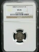 1882H CANADA 5 CENTS NGC VF 25 KM# 2 SCARCE