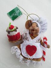 Christmas Ornament Kurt Adler Holiday Baker Mouse Stuffed Felt Body Resin Head