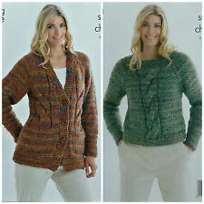 Knitting Pattern Ladies V-Neck Cable Jacket with Pockets Super Chunky Kc 3850