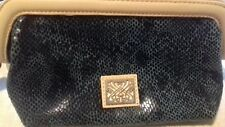 BIBA Dark Green Leather Cosmetic Bag or small clutch ...New no tags