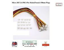 5x Pairs Micro JST 2.0 PH 3-Pin Male&Female Connector Plugs 150mm Wires RC UK
