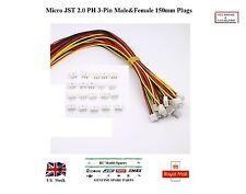 5x Paires Micro JST 2.0 PH 3-Pin Mâle & Femelle Connecteur Plugs 150 mm fils RC UK