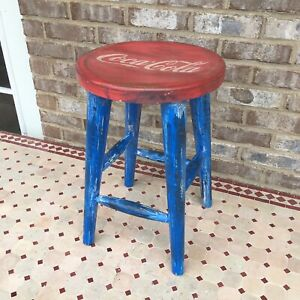 Vintage Style Wooden Coca-Cola Stool Coke Bar Chair Stand Red White Blue