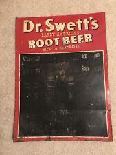 Rare Dr Swetts Root Beer Advertising Menu Board Metal Sign Pop Soda Tin Sign