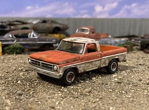 1971 Ford F-100 Rusty Weathered 1/64 Custom Diecast Barn Find Junkyard Truck