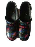 Dansko Woman Size 37 Black Multicolored Marblized Pattern Professional Clogs