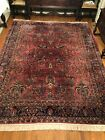 1920's Sarouk hand knotted 9' X 12' red floral area rug