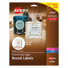 """Avery Round True Print Labels 2 1/2"""" dia White 90/Pack 22830"""