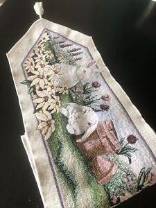Easter Bunny Table Runner Tapestry Tassel Rabbit 70 X 11.5