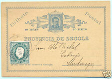 1895 ANGOLA SCARCE UPRATED KING LUIS 10+10 POSTAL STATIONERY CARD TO MONTENEGRO