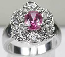 Ring Vintage Style with Pink Topaz Accented with Cubic Zirconia in Sterling