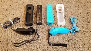 2 Nintendo Wii Remote Motion Plus Controllers RVL-036 & 2 Nunchuck Black/Blue