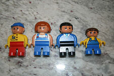 4 Vintage Lego Duplo Figures Woman Farmer Farmer Boy Mechanic Man wearing Suit