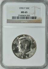 Scarce 1990-P Kennedy 50c NGC MS65 EXTREMELY Lustrous Spot Free Un-Toned