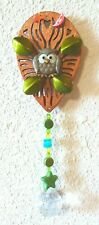 Small OWL SUN CATCHER, with 1- 20mms Crystal Prism. Beaded, 2 inches by 6 inches
