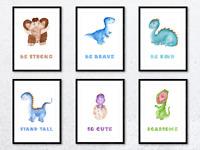 Dinosaur Nursery Watercolour Wall Art Prints. For Baby Boys Girls Kids Bedroom.