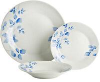 Viners Floral Fine Porcelain 12 Piece Dinner Service Set Blue & White
